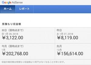adsenseの1月収入が20万円超え